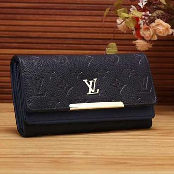 Louis Vuitton Women Leather Buckle Wallet Purse