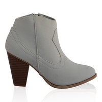 """Rebel"" Low Heel Cowboy Booties - Gray"