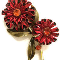 Brooch Sale Coro Enamel Flower Brooch, Three Dimensional Flowers, Red Marsala and Green Enamel, Hyacinth Rhinestone Centers, Gold Tone
