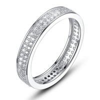 Sterling Silver Eternity Ring W. Double Row Micro Pave Cubic Zirconia