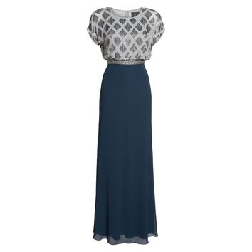 Adrianna Papell Blue Beaded Colorblock Blouson Gown