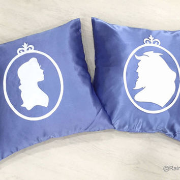 Hand Cut Beauty And The Beast Silhouette Cameo Midnight Blue White Pillow Covers Set. 17inch Stormy Blue Decorative Pillow Case. Fairy Tale