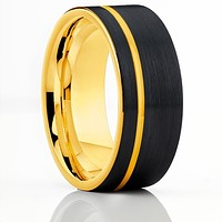 Yellow Gold Tungsten Wedding Band - Black Tungsten Ring - Men's Tungsten