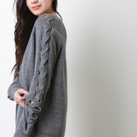Twisted Cutout Sleeves Knit Top