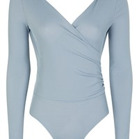 Long Sleeve Wrap Rib Body | Topshop