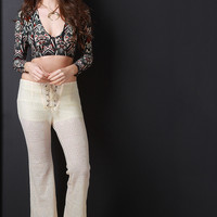 Lace-Up Bell Bottom Pants