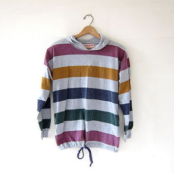 vintage hooded shirt. pullover hoodie. drawstring pullover. faded striped shirt