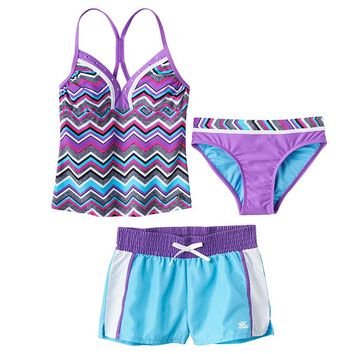 ZeroXposur Chevron 3-pc. Tankini Swimsuit Set - Girls