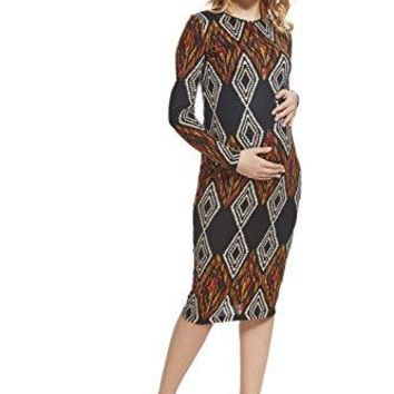 Nothing But Love Maternity Bodycon Maternity Dress Midi Crew Neck Long Sleeve Pencil Dresses For Pregnant