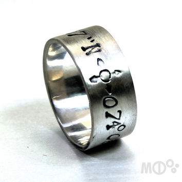 Large ring band with longitude and latitude engraved, sterling silver