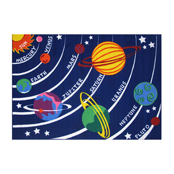 Fun Rugs Fun Time Collection Home Kids Room Decorative Floor Area Rug Solar System -19X29