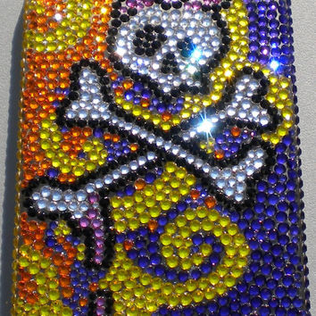 Tiny 9ss - Crazy Color Girly Skull Design Crystal Diamond Rhinestone BLING Back Case for Apple iPhone 4 4G 4S made with Swarovski Elements