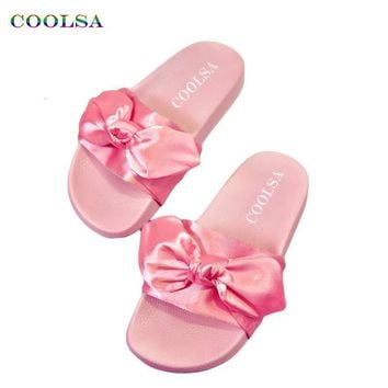 2017 Coolsa Fashion Women Fabric Slippers Cute Bow Silk Slides Flat Rubber Home Slippe