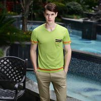 Men T-shirts V-neck Short Sleeve Men's Fashion Bottoming Shirt [6544564931]