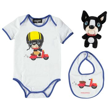 Dsquared2 Baby Doggy Romper & Toy Gift Set