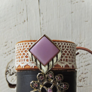 Leather and Lace Cuff/Boho Chic Cuff/Gypsy Cuff /Rustic Jewelry/Repurposed Leather/Purple/Silver/Leather Jewelry/Indie/Upcycled Leather/Boho