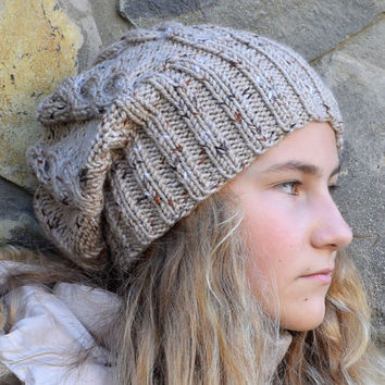 Knit slouchy beanie-womens slouch hat-Fall beanie-Winter beanie-Hippie beanie-woman chunky hat-Gray Beige Women hat knitted hat-hipster hat