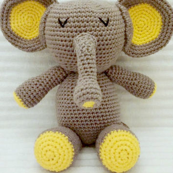 Crochet Elephant, Elephant Stuffed Animal, Crochet Animal, Elephant Plush, Stuffed Elephant, Zoo Nursery Decor, amigurumi elephant