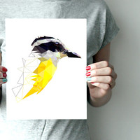 "Bird art print  8""x10"" or 11""x14"" - Great kiskadee - Geometric - Yellow - Brazil - Tropical nature"