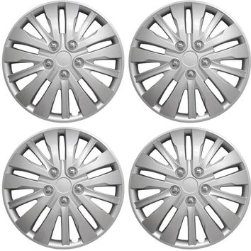 """4 Piece Set Silver ABS Fits Toyota Camry 1995-2014 16"""" Wheel Skin Cover Hub Cap"""