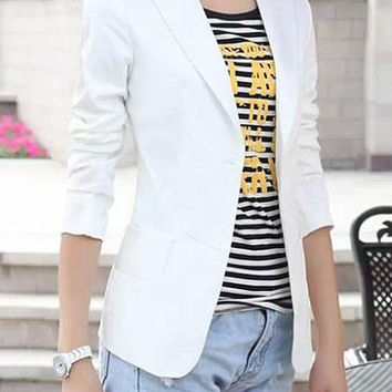 White Lapel Long Sleeve Blazer