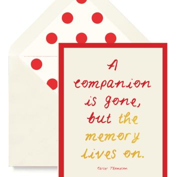 A Companion Is Gone But Greeting Card, Single or Boxed Set of 8