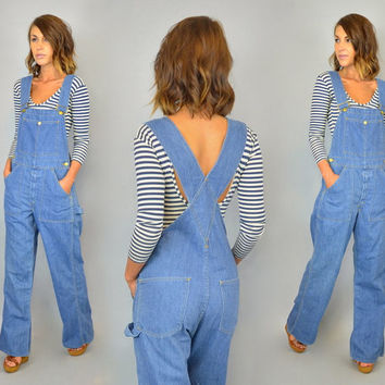 DENIM OVERALLS vtg 80s oversized boyfriend SUSPENDER denim bibs pockets dungarees, extra small-medium