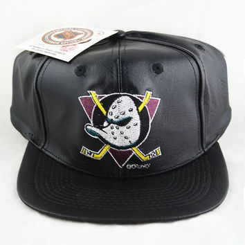 Vintage Anaheim Mighty Ducks Snapback Hat Leather Logo 7