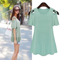Light Green Cutout-Shoulder Shirt