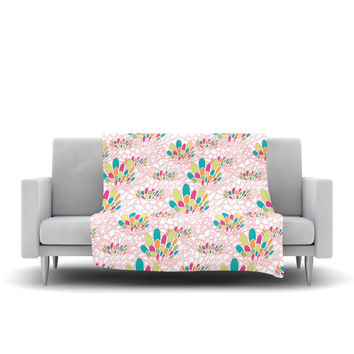 "Miranda Mol ""Blown Away"" Pink Multicolor Fleece Throw Blanket"