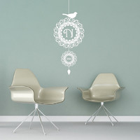 Custom Monogram Christmas Ornament with Bird Style A Vinyl Wall Decal 22471