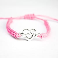 Knotted Heart Bracelet Pink Hemp Friendship Love Knot