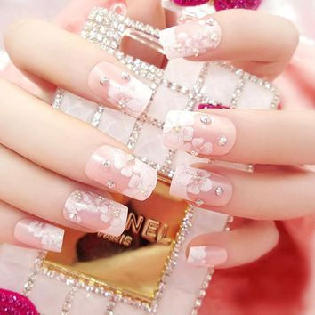 New Pink Wedding Bride Full Nails Tips With Glue Flowers Shining 3D Diamond Rhinestone Fake Nail Art Tool 24 Pcs/Set  FM88