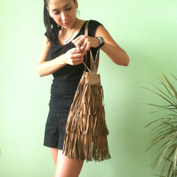 70s Suede Fringe Purse, Sand Genuine Leather, Gypsy Drawstring Bag, Southwestern Festival Messenger, Navajo Woodstock,  Beige Tribal Pouch