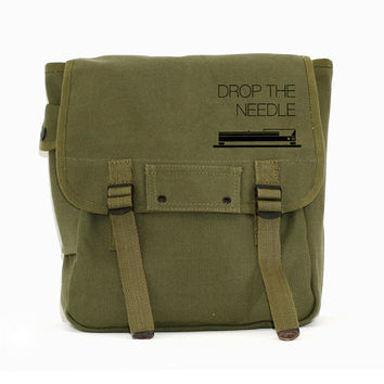 Drop the Needle Backpack, Canvas Backpack, Rucksack, Travel Backpack, Festival Bag, Music (Green & Black) Men's Backpack, Women's Backpack