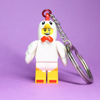 Chicken Suit Keychain - made from Series 9 LEGO (r) Minifigure