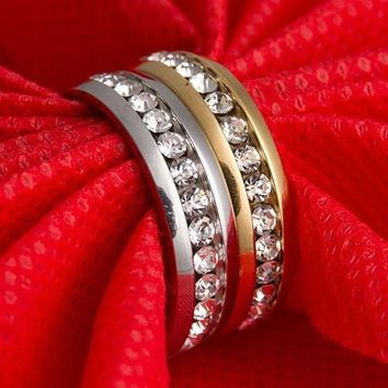 Romantic Men Women Couple Lover Rhinestone Titanium Steel Engagement Ring Wedding Jewelry