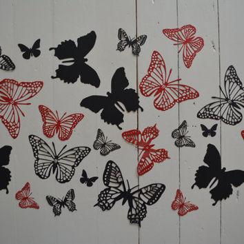 3D Butterflies made of textured card stock in Red and Black --- Let them fly around in your nursery or dress up your party