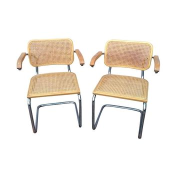 Pre-owned Marcel Breuer Cesca Style Arm Chairs Pair