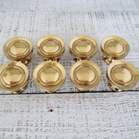 Drawer Knobs 8 Brass Drawer Pulls Brass Drawer Knobs Salvaged Hardware Cabinet Knobs Vintage Dresser Hardware Drawer Handles Mid Century