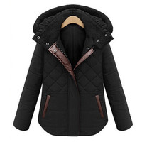 Winter 2014 Parka Womens Plaid Hooded Thick Contrast Color Slim Coats Ladies Jackets Jaquetas Femininas Casaco Inverno