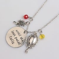 Rose Pendant Necklace Beauty and Beast Mirror with Crystal Charm