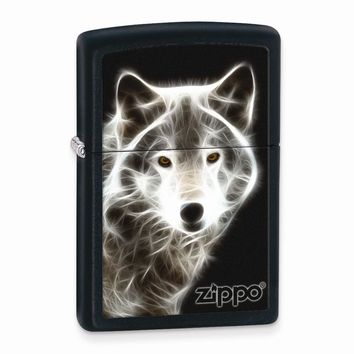 Zippo White Wolf Black Matte Lighter - Engravable Personalized Gift Item