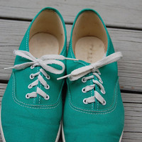 Vintage 80s Jungle Green Keds Style Tennis Shoes Sneakers Size 6