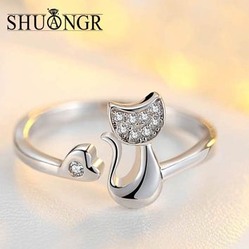 Crystal Inlaid Cute Animal Cat Ring for Women/Girls