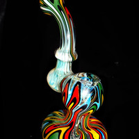 Fumed Rasta Reversal Unique Standing Sherlock Pipe - Upright Design Color Changing Glass Smoking Bowl with Crazy Trippy Wig Wag Patterns