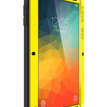 Note 5 Case,PERSTAR Shockproof Waterproof Dust/Dirt/Snow Proof Aluminum Metal Gorilla Glass Protection Case Cover for Samsung GALAXY Note 5 N920 (Yellow)