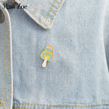 Trendy Cartoon mushroom brooch Enamel pin for coat Button Pins Denim Jacket Pin Badge Fashion plant Jewelry Gift for Kids AT_94_13