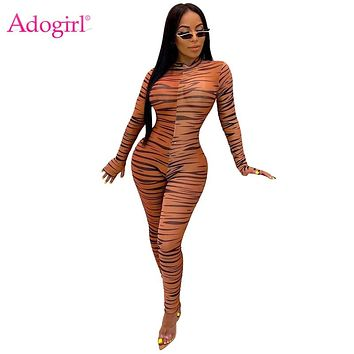 Adogirl Zebra Print Sheer Mesh Jumpsuit Women Fashion Sexy O Neck Long Finger Sleeve Skinny Romper Night Club Overalls Bodysuits