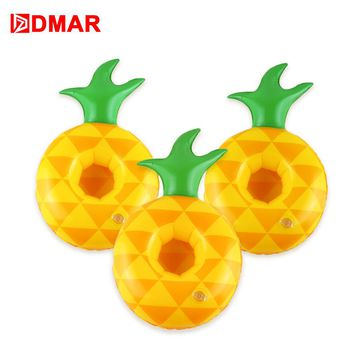 DMAR 3pcs Mini Inflatable Pineapple Cherry Rabbit Duck Drink Holders Pool Float Cup Holder Swimming Ring Beach Party Flamingo